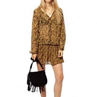 Ganni Bloomsbury Leopard Dress with Drop Waist