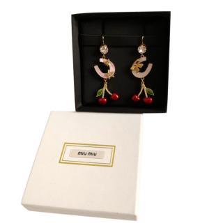 Miu MIu Crystal Cherry Drop Earrings