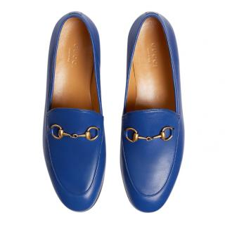 Gucci Jordaan electric blue leather loafers