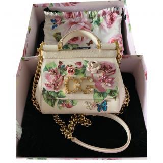 Dolce & Gabbana Blush Floral Painted Embellished Miss Sicily Bag