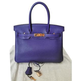 Hermes Togo Leather Iris Birkin 30 GHW