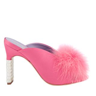 Mulberry Women's Satin Fluff Heeled Mules - Fuchsia