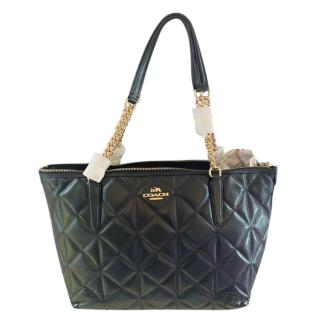 Coach Black Quilted Leather Tote Bag