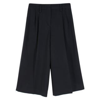 Joseph Black Wide-Leg Cropped Satin Trousers
