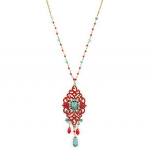 Satellite Paris Turquoise & Red Beaded Chandelier Necklace