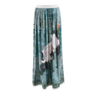 Replay Green Bird Print Pleated Maxi Skirt