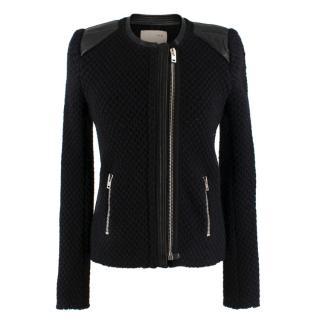Iro Black Leather Trim Rextured Wool Jacket