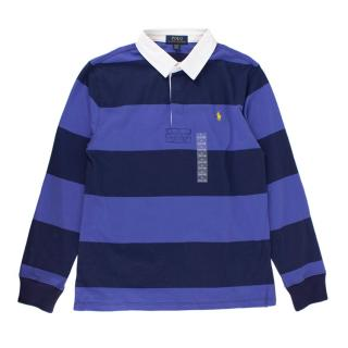 Polo Ralph Lauren Blue Striped Cotton Rugby Shirt