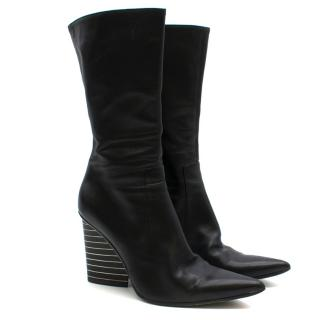 Patrick Cox Black Leather Calf High Pointed Boots