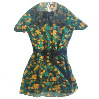 No.21 Black, Yellow & Green Sheer Silk Cover-Up