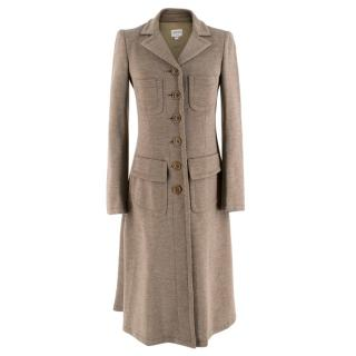 Armani Collezioni Beige Wool Duster Coat