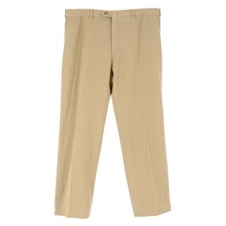 Brioni Beige Cotton-Blend Men's Trousers