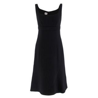 Armani Collezioni Black Wool Sleeveless Sheath Dress