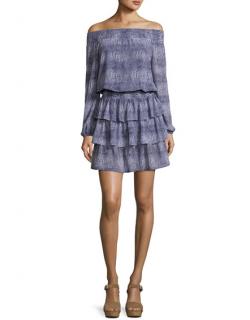 Michael Michael Kors Zephyr Reptile-Print Off-the-Shoulder Dress