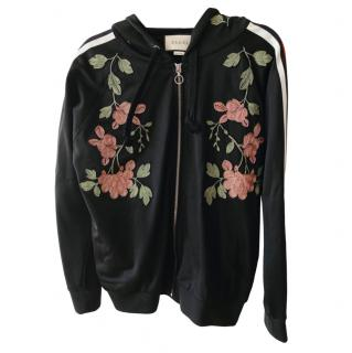 Gucci Black Floral Embroidered Jersey Jacket