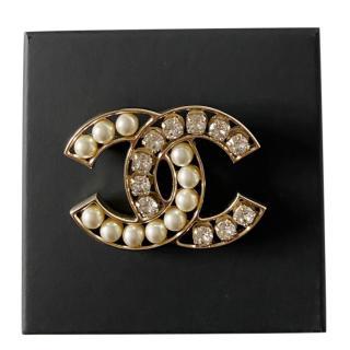 Chanel Black Crystal & Faux Pearl CC Pin Brooch