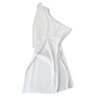 Maje White One Shoulder Ruffled Mini Dress