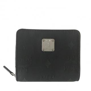 MCM Small Black Monogram Compact Wallet