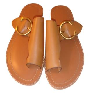 Coach Tan C Buckle Sandals