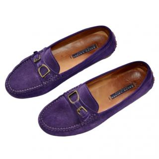 Ralph Lauren Collection suede purple loafers