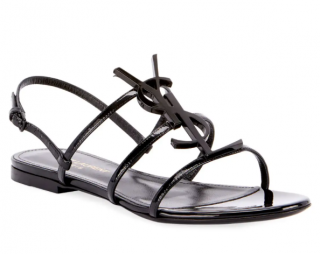 Saint Laurent Black Patent Leather Cassandra Sandals
