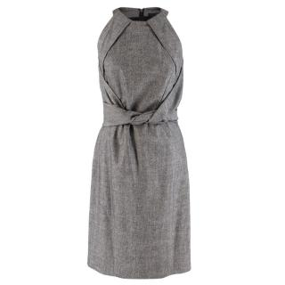 Gucci Grey Wool Midi Dress With Knotted Waist