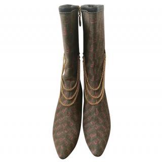 Fendi Vintage Monogram Chain Draped Boots