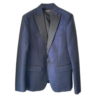 DSquared2 Metallic Blue Contrast Lapel Single Breasted Jacket