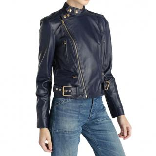 Polo Ralph Lauren Blue Asymmetric Leather Jacket