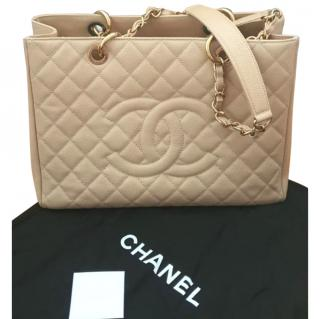 Chanel Caviar Leather Beige Clair Grand Shopping Tote