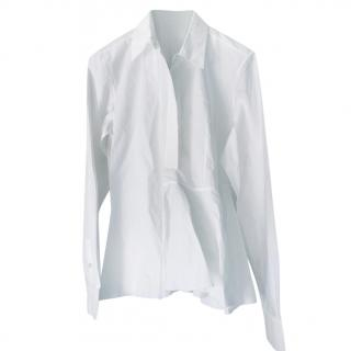 Marni White Cotton Peplum Shirt