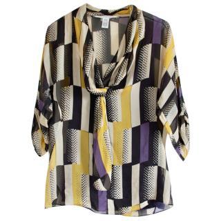 Diane von Furstenberg Silk Geometric Print Blouse