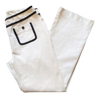 Escada off white stretch-cotton pants
