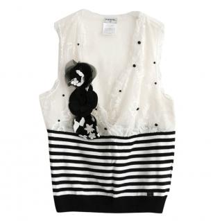Chanel Striped Spotted Chiffon Embellished Knit Top