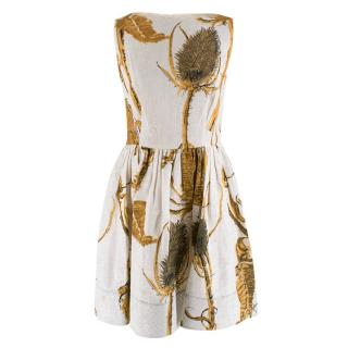 Red Valentino Cream Ramie Thistle Print A-Line Dress