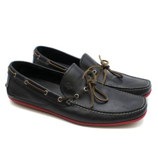 Salvatore Ferragamo Black Leather Boat Shoes