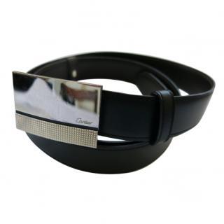 Cartier Black Vintage Leather Reversible Belt