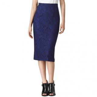 Burberry Indigo Lace Pencil Skirt