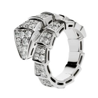 Bvlgari Pave Diamond Serpenti one-coil ring in 18 kt white gold