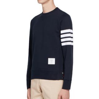 Thom Browne Navy Three Bar Sweatshirt