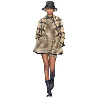 Dior Runway Houndstooth Peplum Dress