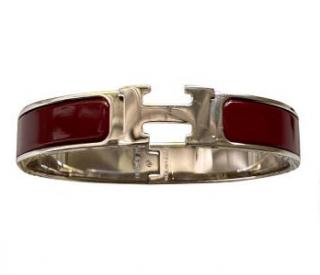 Hermes Bourgogne Clic H Bracelet PHW
