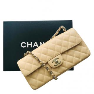 Chanel Beige Small Caviar Leather Flap Bag