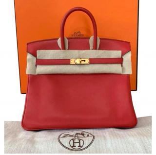 Hermes Swift Leather Birkin 25 GHW in Rouge Vermillion