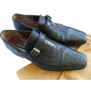 Fratelli Rosetti Black Crocodile Monk Shoes