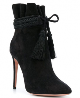 Aquazzura Shanty 105 Suede Ankle Boots in Black