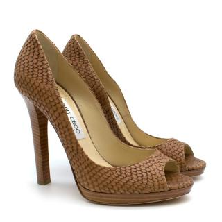 Jimmy Choo Tan Python Embossed Leather Peep Toe Heels