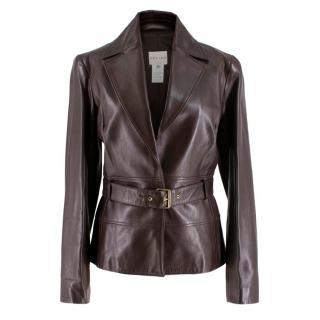 Celine Dark Brown Belted Leather Jacket