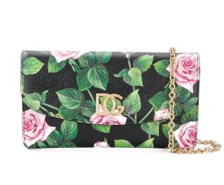 Dolce & Gabbana Rose Print Leather Crossbody Bag