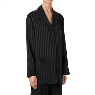 Givenchy Black Striped Silk Pyjama Shirt